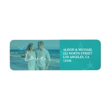 Beach Themed Beach wedding aqua love script photo underwater label