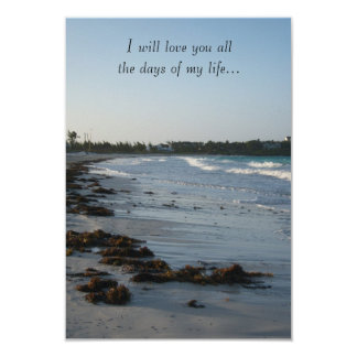 Beach Wedding at Sunset 3.5x5 Paper Invitation Card
