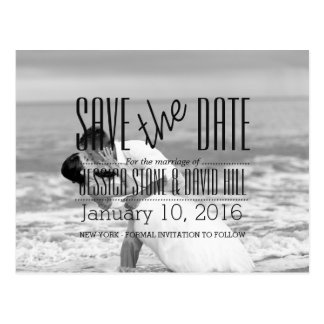 Beach wedding black and white kiss/Save The Date Postcard