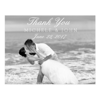 Beach wedding black and white kiss/Thank You Postcard