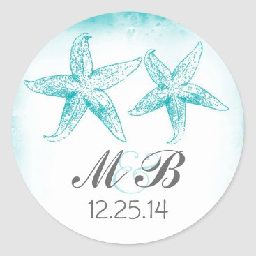 Beach Themed beach wedding blue starfish monogram seal