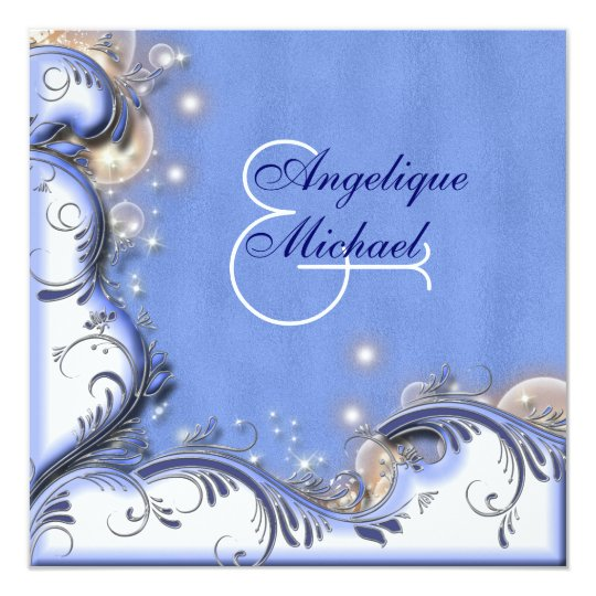 Beach wedding blue white silver card