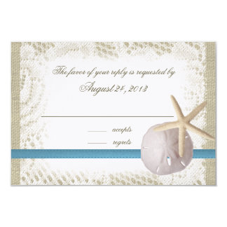 Beach Wedding Blue with Sand Dollar and Starfish 3.5x5 Paper Invitation Card