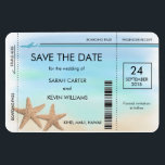 """Beach Wedding Boarding Pass Save the Date Magnets<br><div class=""""desc"""">Starfish in the Sand Save the Date magnets with boarding pass design for your beach theme or destination wedding, with a beautiful watercolor background. Easy to use template - just enter the names of the Bride &amp; Groom, along with the wedding date in the space provided. Contact us at pmcustomweddings@hotmail.com...</div>"""