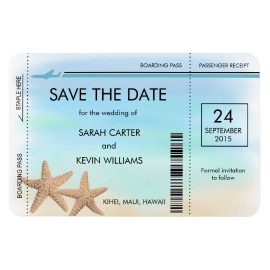 Beach Wedding Boarding Pass Save The Date Magnets Zazzle