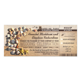 "beach wedding boarding pass tickets - invitations 4"" x 9.25"" invitation card"