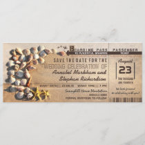 beach wedding boarding pass tickets save the date