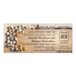 beach wedding boarding pass tickets save the date 4x9.25 paper invitation card
