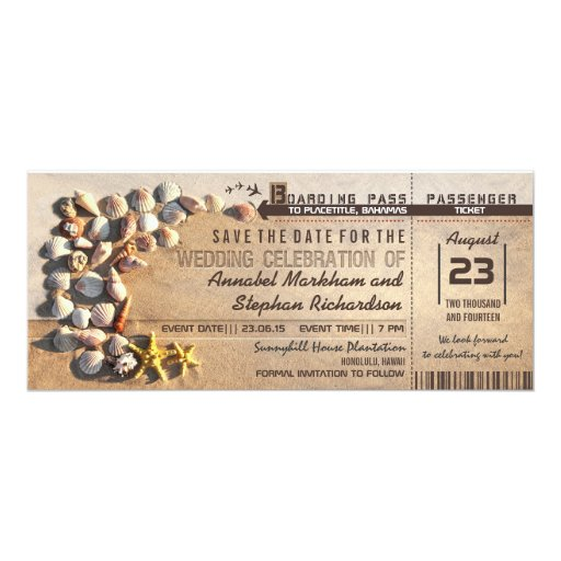 "beach wedding boarding pass tickets save the date 4"" X 9.25"" Invitation Card"