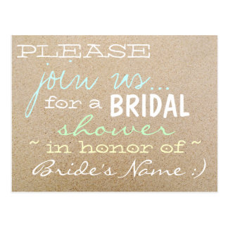 Beach Wedding/Bridal Shower Invitations in Sand Postcard