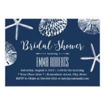 Beach Wedding Bridal Shower Navy Blue Seashells Card