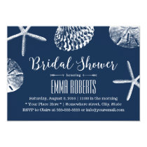 Beach Wedding Bridal Shower Navy Blue Seashells Invitation