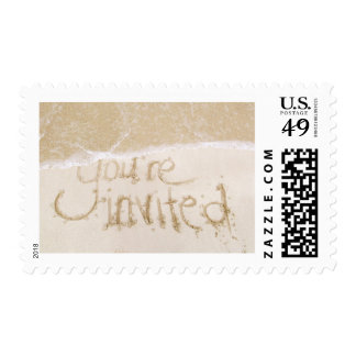 Beach Wedding/Bridal Shower Writing in the Sand Postage Stamp