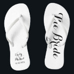 "Beach Wedding Bride Flip Flops<br><div class=""desc"">Custom bride and groom beach wedding flip flops on black and white. Personalize it with your names and wedding date or customize it further if you wish to change the colors or to adjust the layout.</div>"