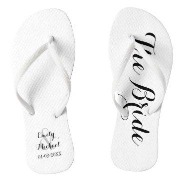 Beach Themed Beach Wedding Bride Flip Flops