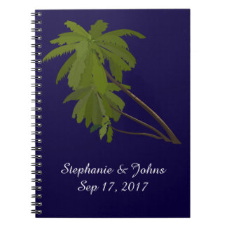 Beach Wedding Bride Groom Tropical Palm Trees Blue Notebook