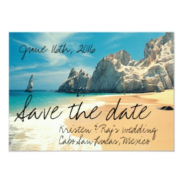 TropicalPapers Beach Wedding Cabo San Lucas, Mexico Save the Date Card