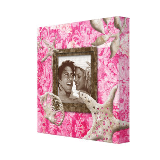 Beach Wedding Canvas Print Photo Template Pink