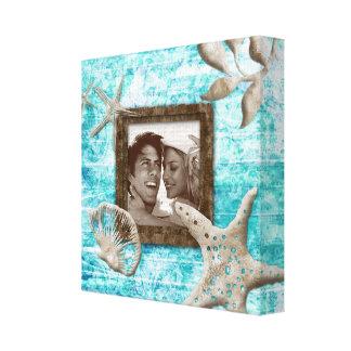 Beach Wedding Canvas Print Photo Template Sea Blue
