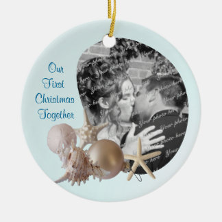 Beach Wedding Christmas Ceramic Ornament