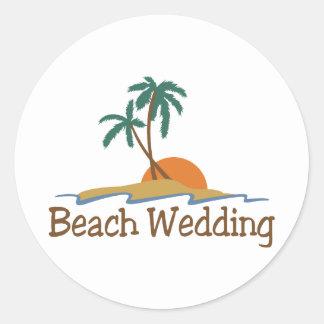 Beach Wedding Classic Round Sticker