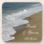 """Beach Wedding Coaster<br><div class=""""desc"""">The natural Beach Wedding Cork Coaster Set makes a nice keepsake gift for the newlyweds when it is personalized with the names of the bride and groom and their marriage ceremony date. This beautiful custom beachy wedding cork coaster set features a nature photograph of ocean waves crashing on the sandy...</div>"""
