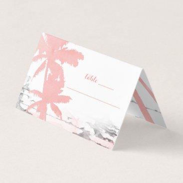 Beach Themed Beach Wedding Coral Palm Trees Wood Place Card