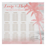 Beach Wedding Coral Palm Trees Wood Seating Chart