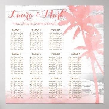 Beach Themed Beach Wedding Coral Palm Trees Wood Seating Chart