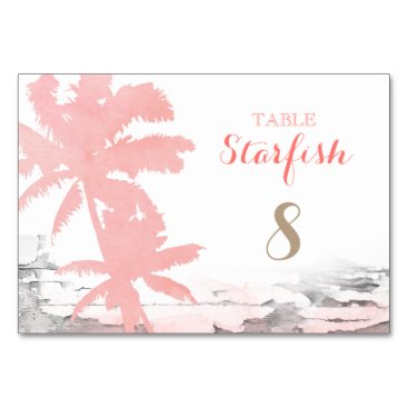 Beach Themed Beach Wedding Coral Palm Trees Wood Table Card