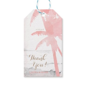 Beach Themed Beach Wedding Coral Palm Trees Wood Watercolor Gift Tags