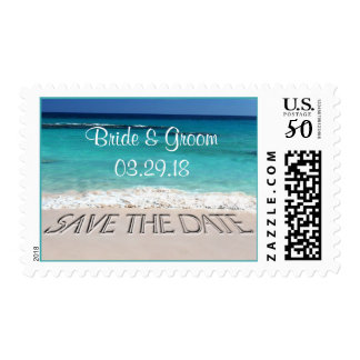 Beach Wedding Custom Couple Names Save The Dates Postage