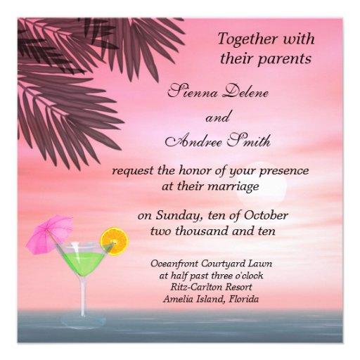 Beach Wedding Custom Invitations