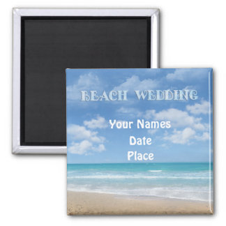 Beach Wedding (customizable) 2 Inch Square Magnet