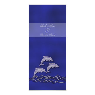Beach wedding dolphin blue elegant card