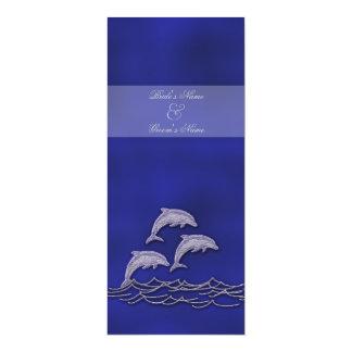 Beach wedding dolphin blue elegant 4x9.25 paper invitation card