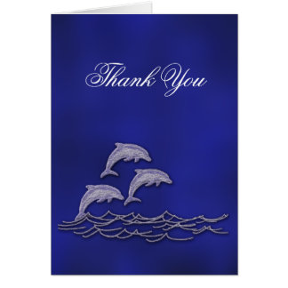 Beach wedding dolphin thank you card