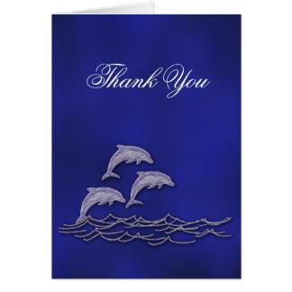Beach wedding dolphin thank you card