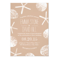 Beach Wedding Elegant Neutral Starfish Sand Dollar Card