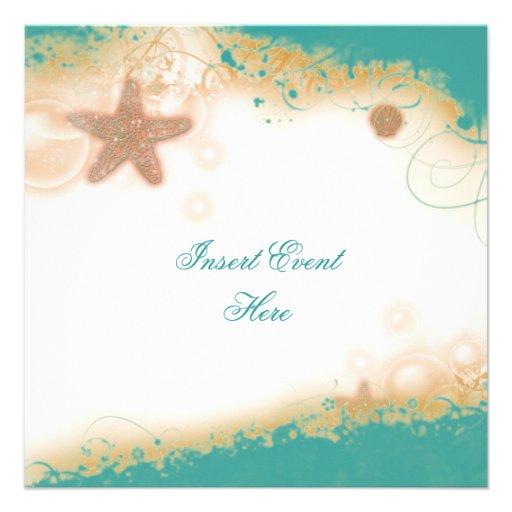 Beach wedding elegant party theme 5 25x5 25 square paper invitation