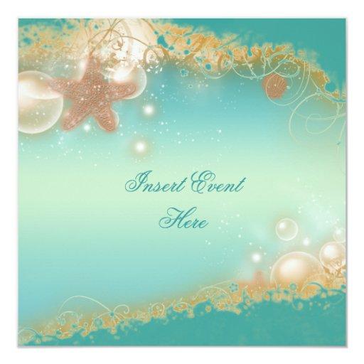 Beach wedding elegant party theme personalized invitation