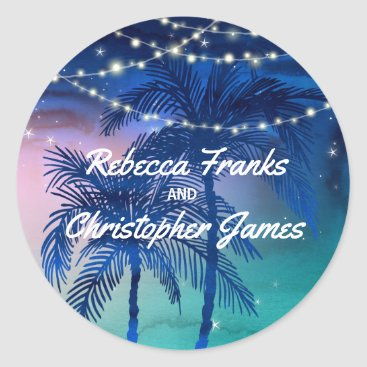 Beach Themed Beach Wedding Envelope Seals | Tropical Palm Trees
