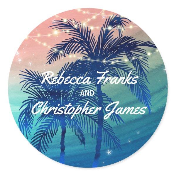 Beach Wedding Envelope Seals | Tropical Palm Trees