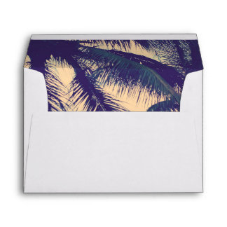 Beach wedding envelopes and palm tree photo liner