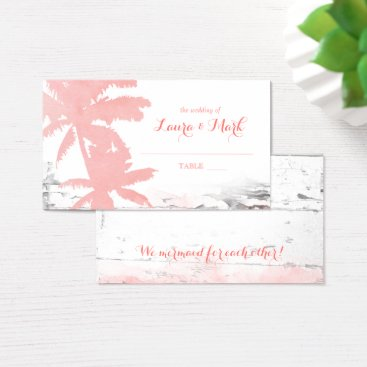 Beach Themed Beach Wedding Escort Card Coral Palm Trees Wood