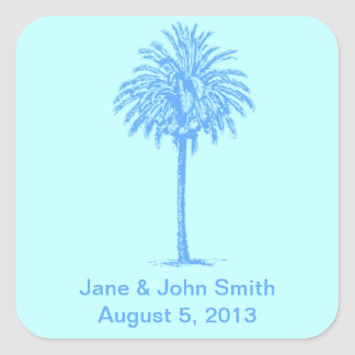 Beach Wedding Favor Stickers: Blue Palm on Blue Square Sticker