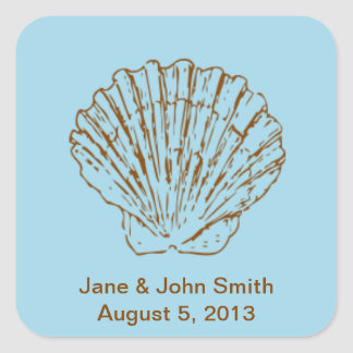 Beach Wedding Favor Stickers: Brown Shell on Blue Square Sticker