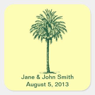 Beach Wedding Favor Stickers: Green Palm on Yellow Square Sticker