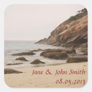 Beach Wedding Favor Stickers - Rocky Beach