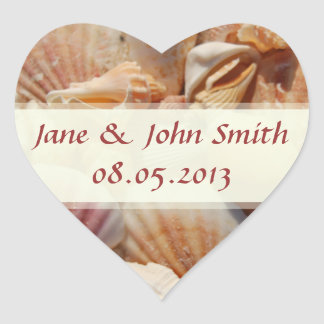Beach Wedding Favor Stickers:  Seashells Heart Sticker